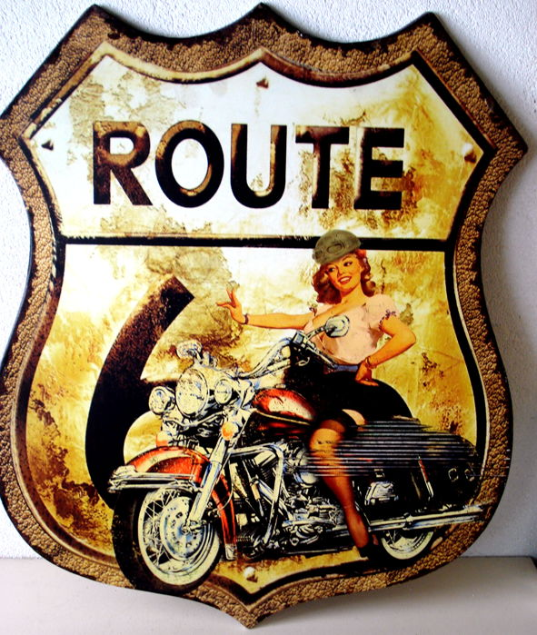 Heavy metal sign Route 66 - late 20th century