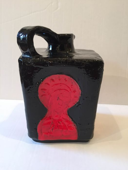André Borderie - Enamelled red black ceramic - pitcher Vallauris Byzantine art