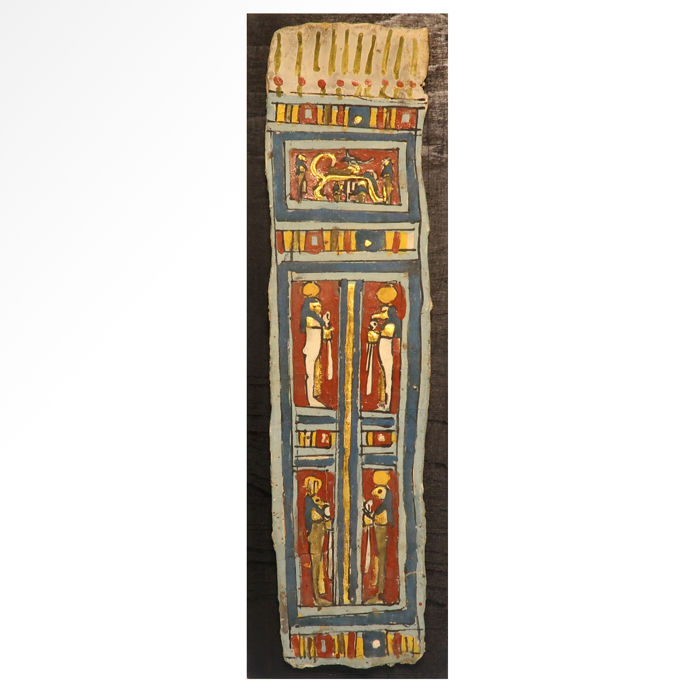 Altägyptisch Cartonnage Large Gilt Polychrome Painted Cartonnage,  - 31 cm L