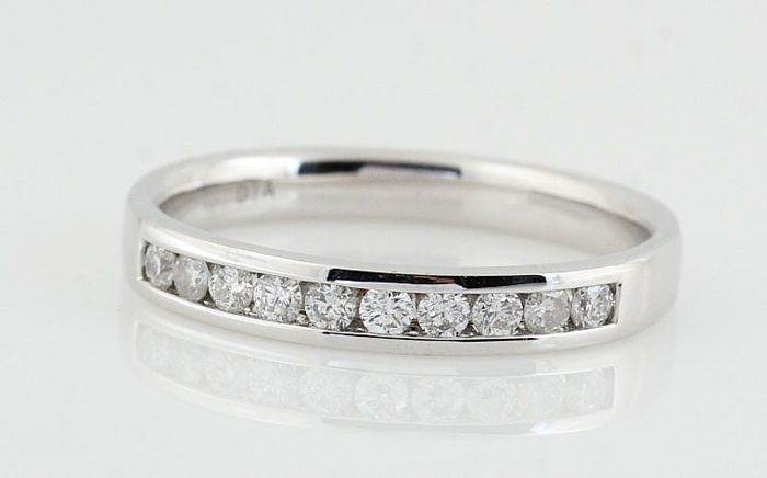 PT950 Platina diamond ring total 0.20ct / Ringsize: 54 / G-H - VS-SI / weight: 2.80gr
