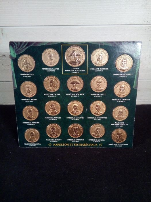 Twenty military medals or tokens of Napoleon and his marshals - Complete Collection - late 19th century - Cast edition atlas - France