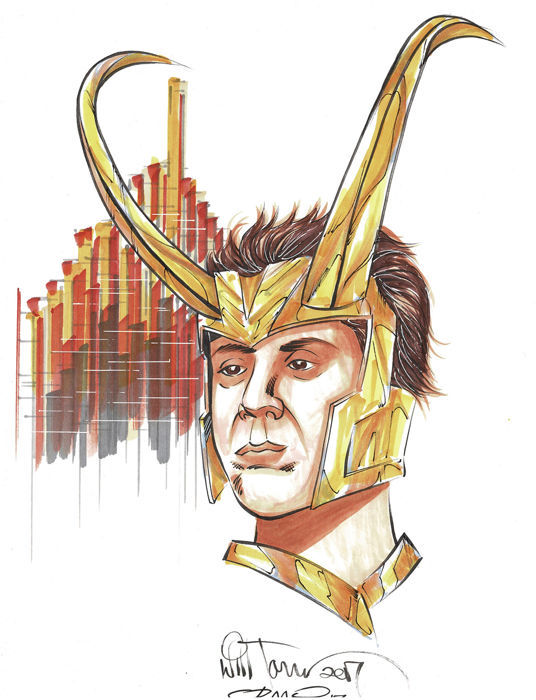 Loki - disegno originale - Will Torres - Loose Page - First Edition