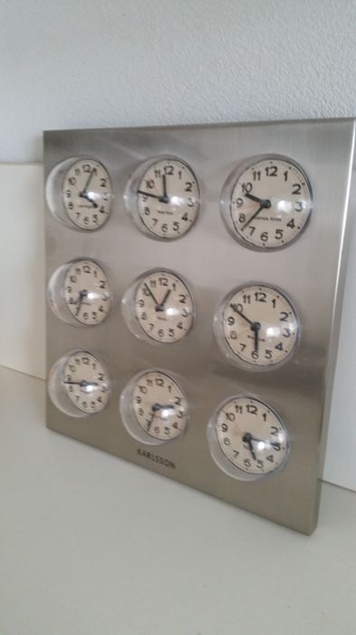Karlsson - Polished steel World clock with 9 Dials