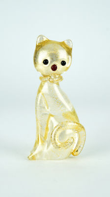 Campanella Livio (Murano) - 24 kt gold leaf cat sculpture