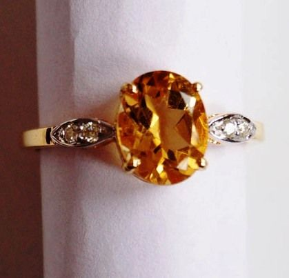 14 kt Gold Ring set with Citrine and Diamonds Ring Size US 6.5