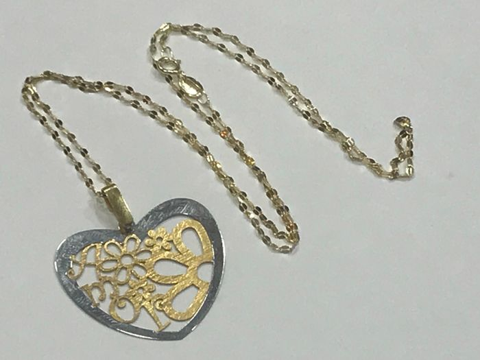 Gold necklace with 18 kt gold heart shaped pendant 4550 cm catawiki gold necklace with 18 kt gold heart shaped pendant 4550 cm aloadofball Choice Image