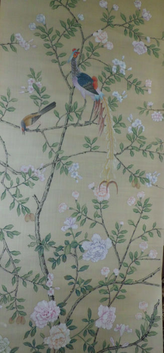 "De Gournay wallpaper from 1976 ""Jardinieres Citrus Trees"" - Chinoiserie - Hand painted panel on paper-backed silk"
