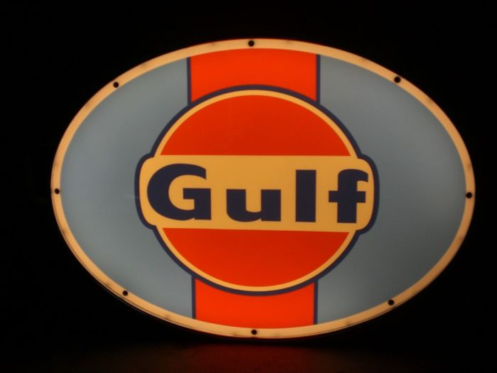 Gulf Oil Garage Classic Advertising Light Up Sign Advertising LED Classic Car Garage Signage