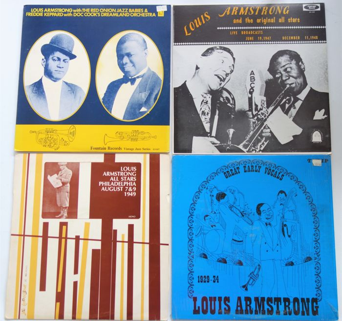 Lot with 4 RARE Louis Armstrong albums