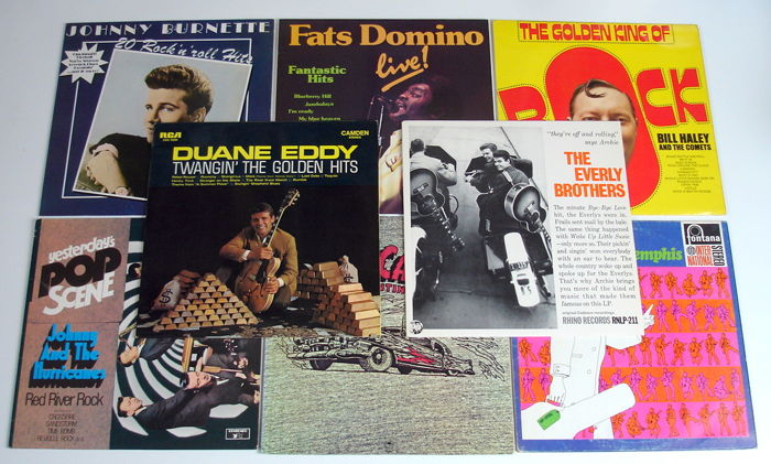 8x LP Rock & Roll Records from the 1960's original 1st pressings from the USA, UK, Canada, Holland & Germany