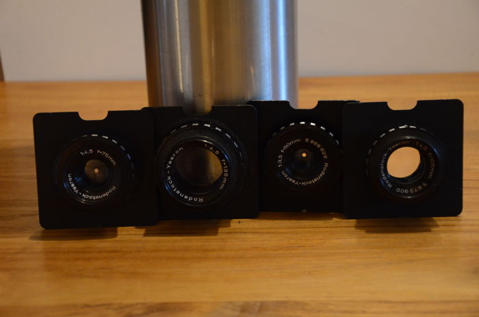 4x Rodenstock-Ysaron enlarging lenses with M39 screw thread, on lens board of 7.3 by 7.3 cm