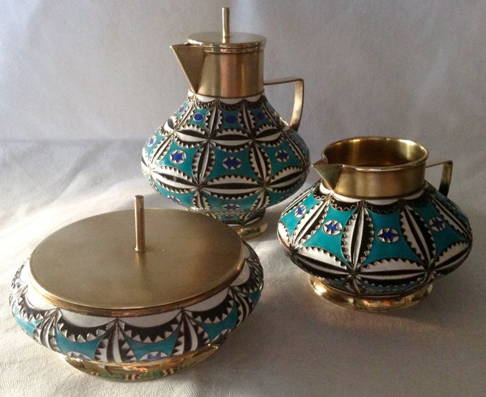Silver enameled tea set, Russia, 20th century