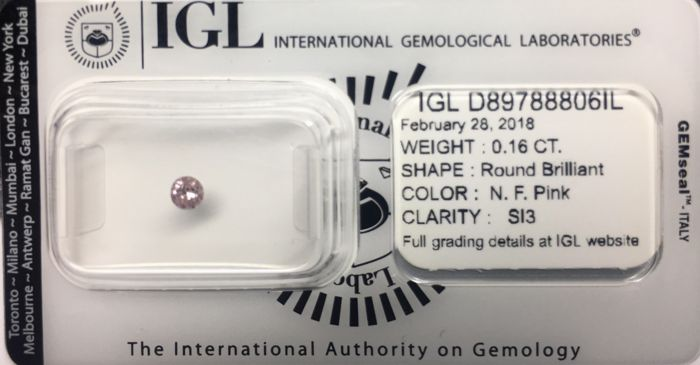 Round  0,16ct Natural Fancy Pink Diamond Si3 - very low reserve
