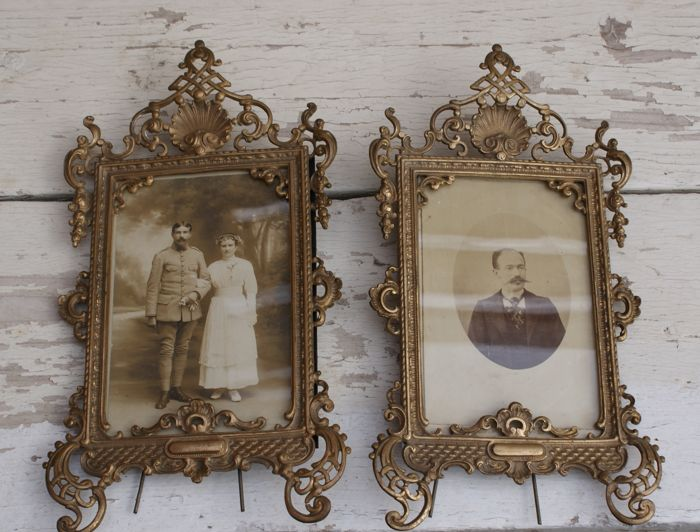 """Two Rococo-style photo frames - signed with an """"H"""", France, ca. 1910"""