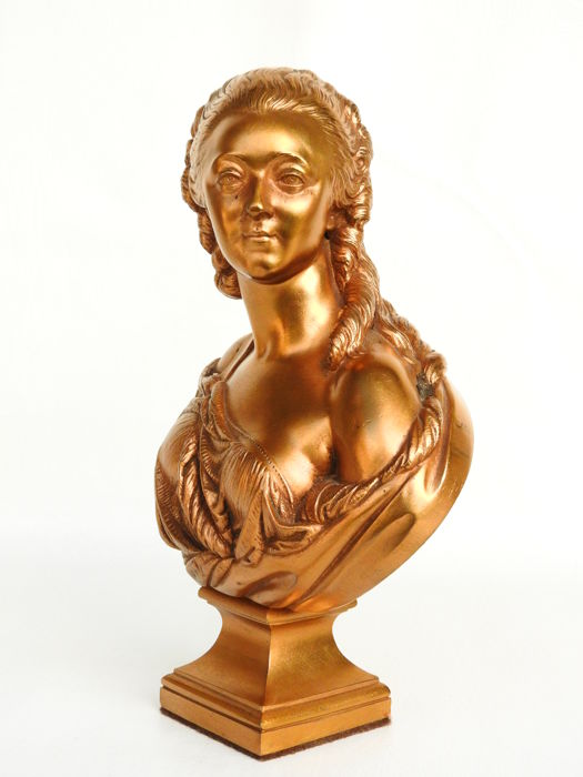 After Augustin Pajou - Fondeur F. Barbedienne - Mdme. la Contesse Du Barry - bust in gold-plated bronze - France - ca. 1880