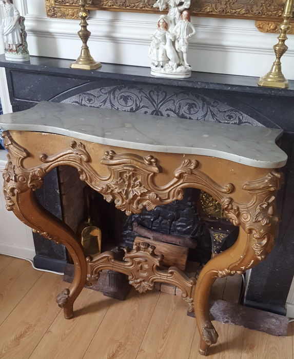Carved and gilt console in Louis XV style - France - 20th century