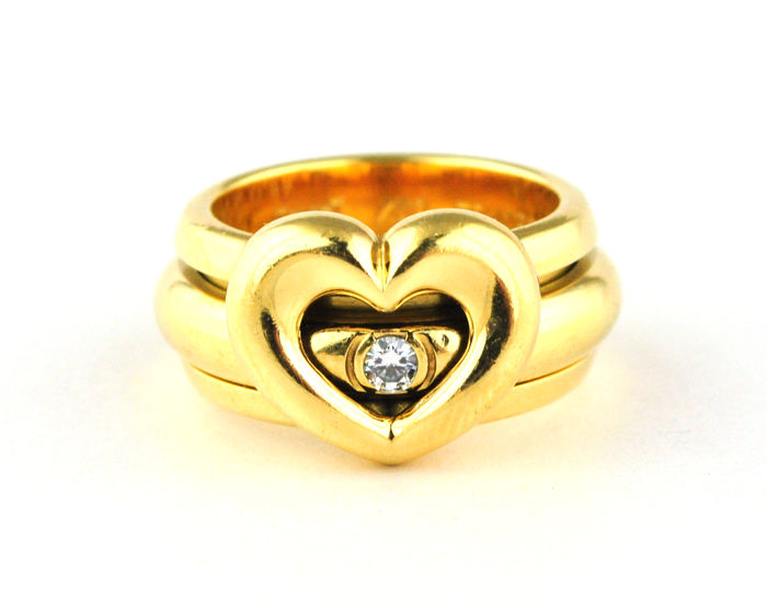 Piaget - Possession Diamond Heart Ring Stamped & Signed PIAGET 750/18k Yellow Gold