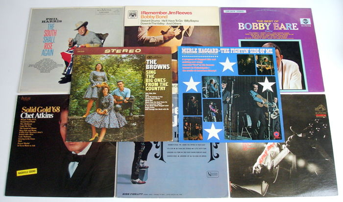 8x LP Country Records from the 1960's original 1st pressings from the USA, UK, Canada & Germany