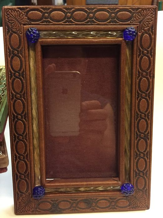 Table top frame, Venice - Leather and Murano glass