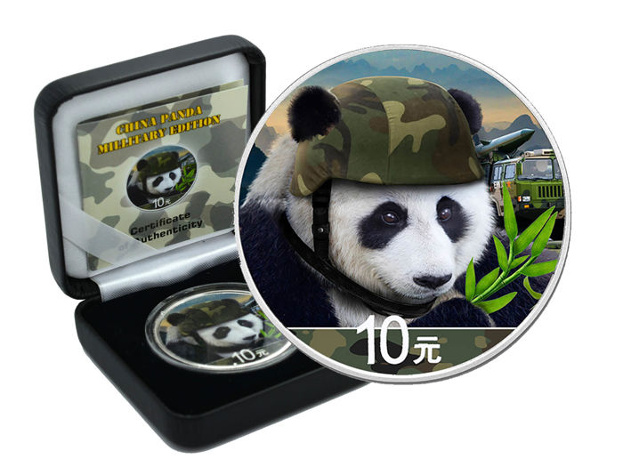 10 Yuan - China Panda, 2018 Millitary Edition - Coloured - Box & Certificate, Edition of 500 Pieces
