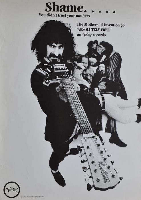 Frank Zappa promo poster for Absolutely Free 1967