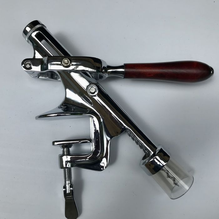 Very nice bar corkscrew in chrome and wood