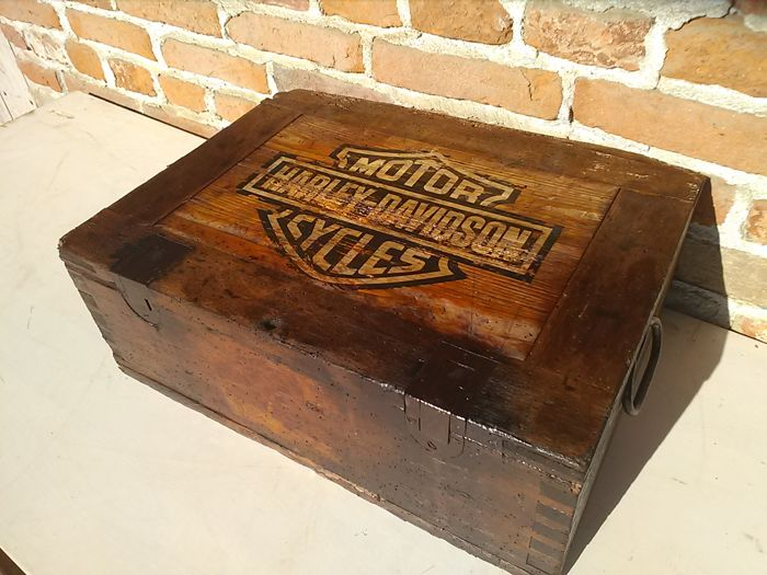 Old Wooden Tool Box In Garage Style With Harley Davidson Logo