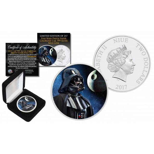 Niue - 2 Dollars 2017 'Star Wars - Darth Vader Death Star Backdrop' - Colour Edition  - with box & certificate - edition 217 pieces - 1 oz silver