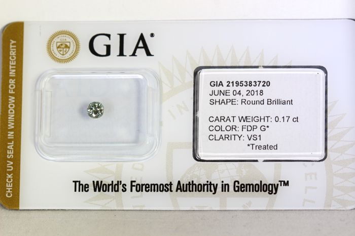 GIA Sealed - Fancy Deep Green  Diamond - ( Color Treated ) - 0.17 ct - VS1
