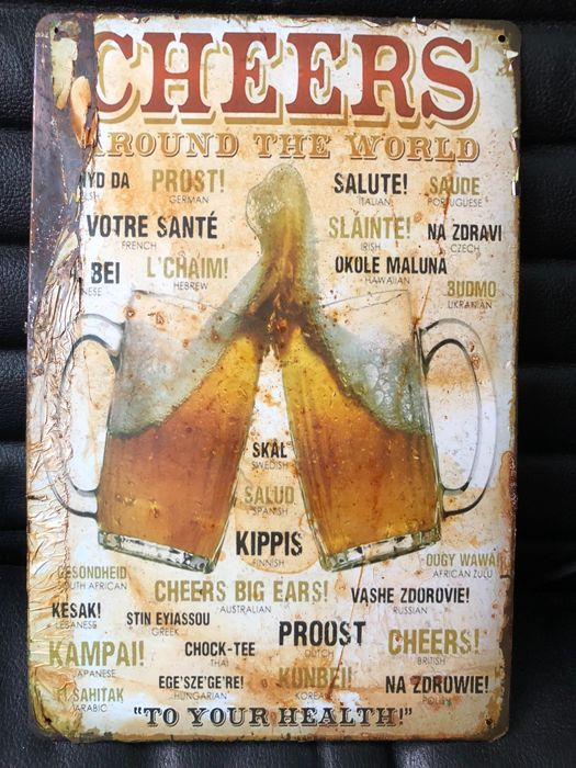 Very rare vintage Bar &Beer advertising Cheers around the World about 1970