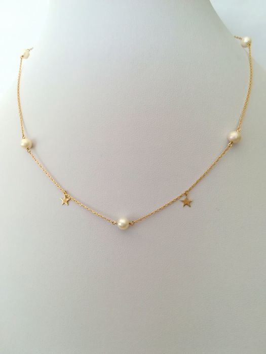 19,2 kt. Yellow gold - Necklace Akoya Pearl 5 mm