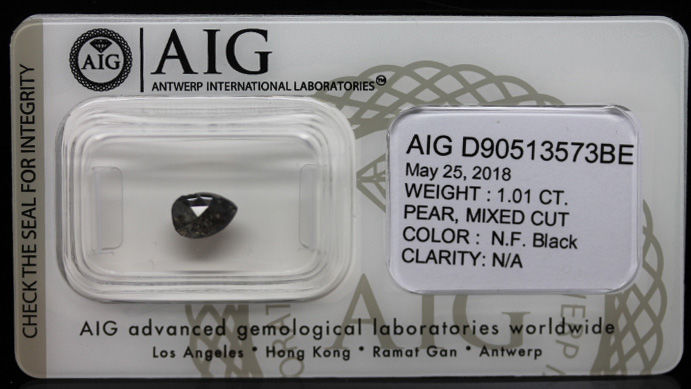 1.01 ct. Certified Natural Fancy Black Pear Cut Diamond - NO RESERVE