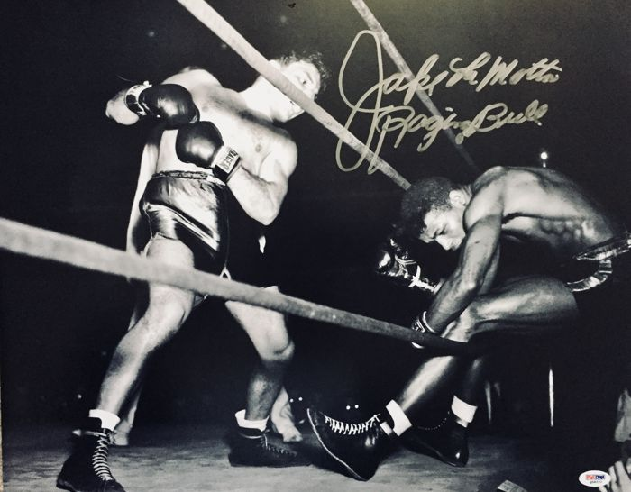 Jake LaMotta -  Authentic & Original Signed Autograph in a Amazing Professional Photo ( 40 x 50 cm ) - with Certificate of Authenticity PSA/DNA