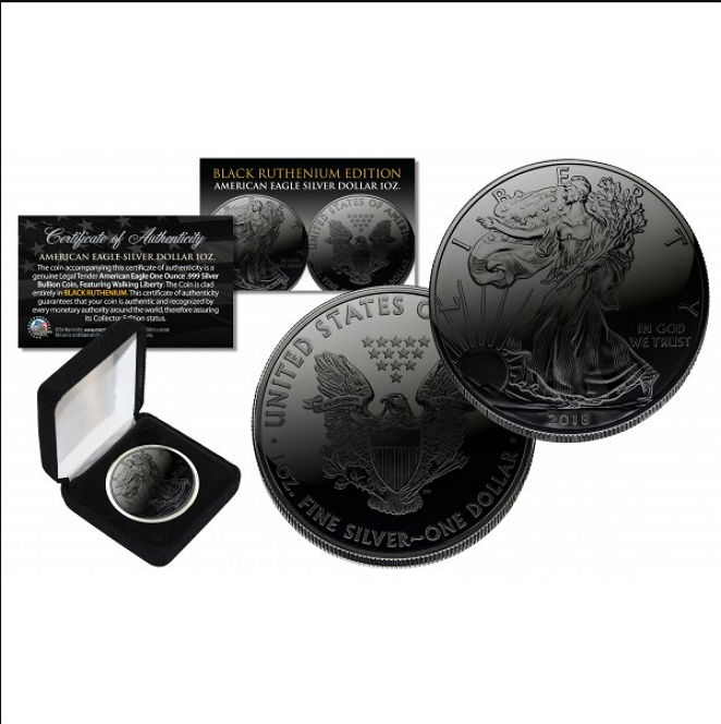 United States - 1 Dollar American Eagle 2018 - Black Ruthenium Edition - 999 silver - with Box & Certificate