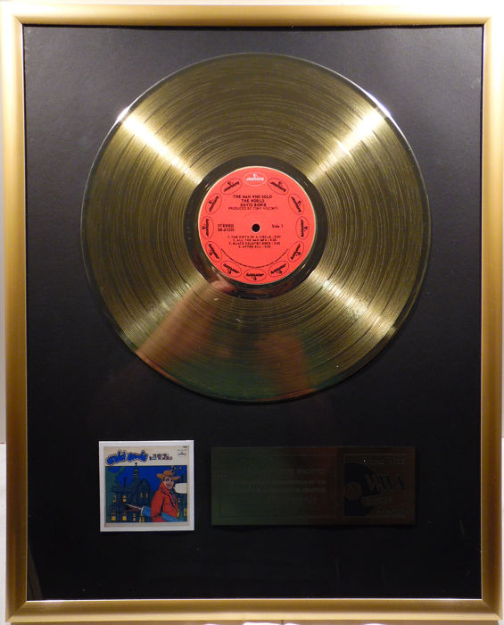 """David Bowie - The Man Who Sold The World -  12"""" Mercury record gold plated record by WWA Awards"""