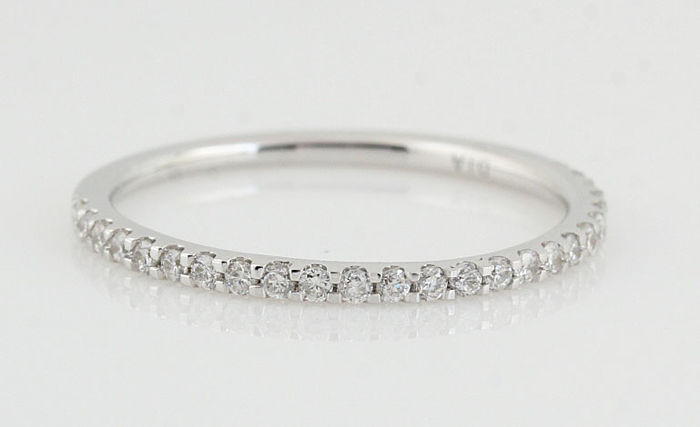 PT950 Platina diamond ring total 0.25ct / Ringsize: 54 / G-H - VS-SI / weight: 1.40gr