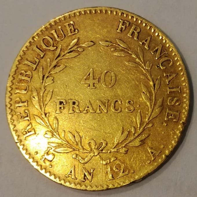 France - 40 Francs Year 12-A Bonaparte First Consul - gold