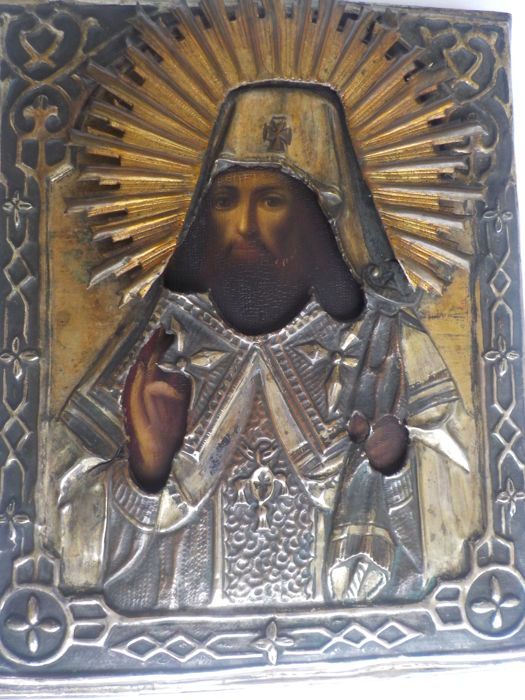 Antique Russian icon of the bishop from Voronezh