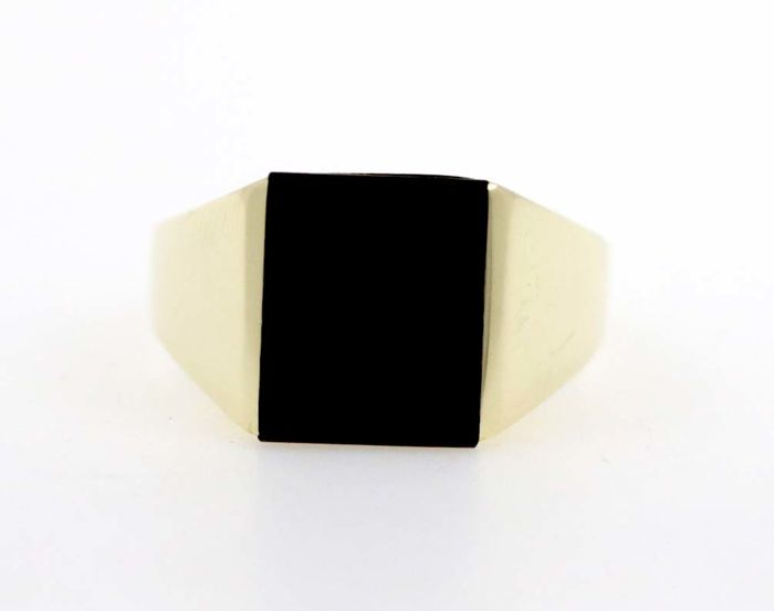 14 kt yellow gold men's ring with onyx - ring size 75 / 24 mm Ø - free size adjustment