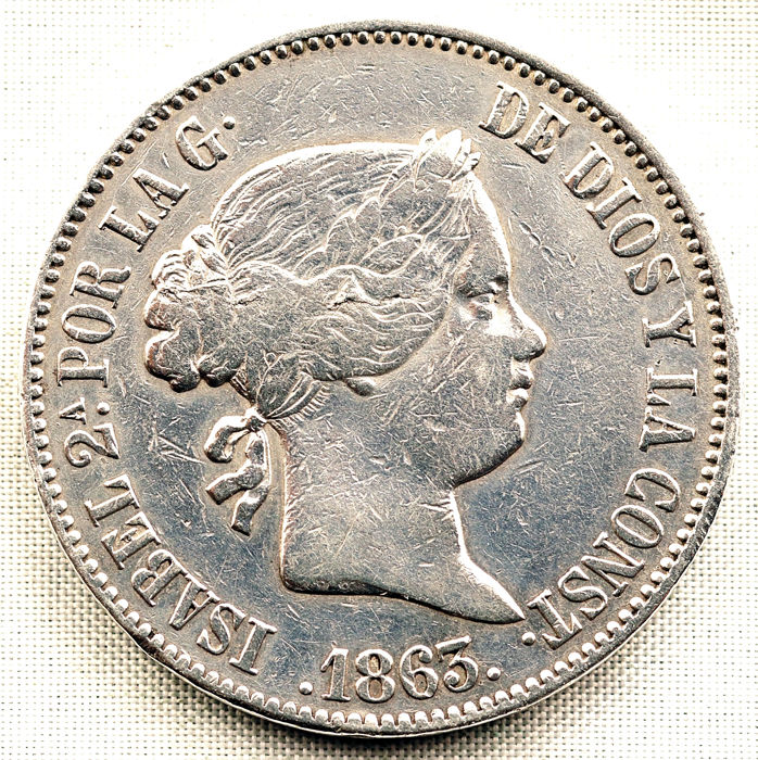 Spain - 10 Reales 1863 Madrid - Isabel II - Silver