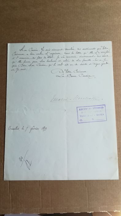 original letter from Princess Henriette of Belgium, from 1879 in the French language with signature / COA