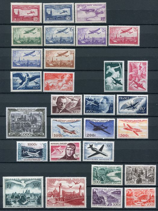 France 1930/1955 - Selection airmail - Yvert 5/13, 16/34, 36