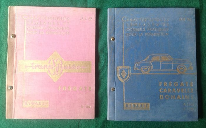 Renault - 2 official and original manuals of the adjustment and repair characteristics of the Renault Frégate and Transfluide frigate system