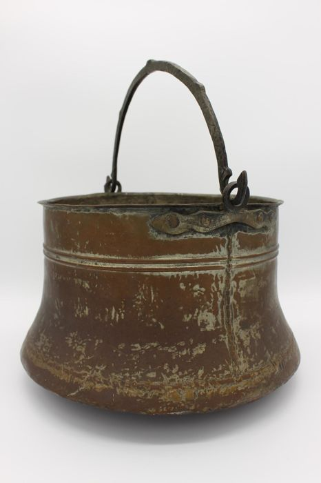 Antique copper Oriental kettle