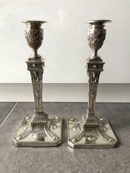 Candlestick 925/1000 silver, neo-classical, Walter Latham & Son, England, Sheffield, 1919