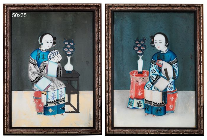 Pair of Reverse Glass Paintings - China - Late Qing Dynasty (1644-1911)