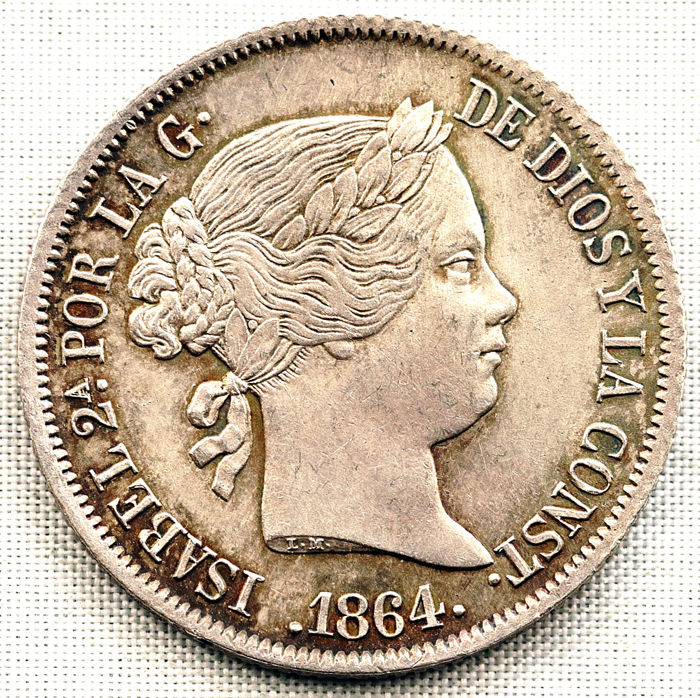 Spain - 40 Centimo 1864 Madrid - Isabel II - Silver