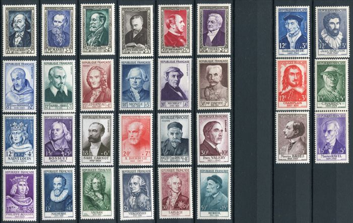 France 1946/1957 - Important persons, 10 sets - Yvert Between 765 and 1113