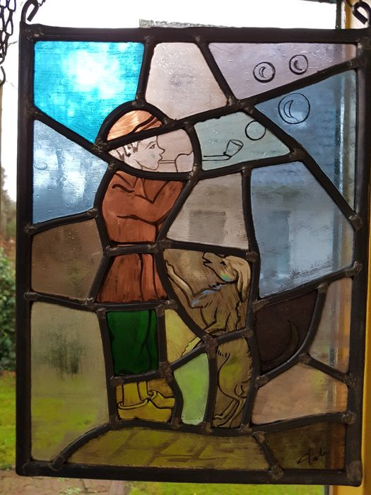'Stained glass' window - Wonderful 'stained-glass' window of a bubble blowing boy with a dog