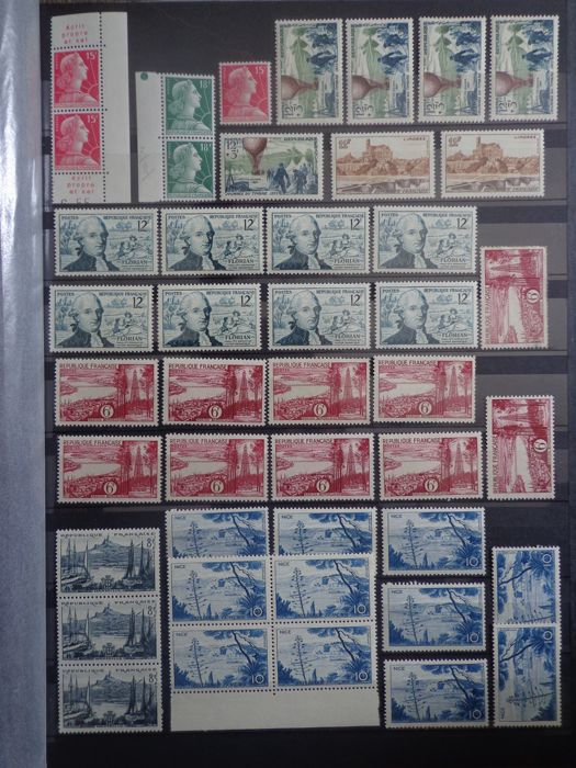 France 1955/1956 - Important Multiple Lot, Pairs, Tapes, and Blocks - Yvert n°1011 au n°1090